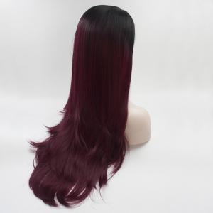16 - 24 inch Burgundy Color Black Root Long Straight Style Heat Resistant Synthetic Hair Lace Front Wigs for Women -