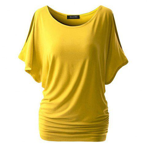 Best Women Short Sleeve  Pure Color Round Collar T-Shirt