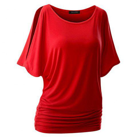 Sale Women Short Sleeve  Pure Color Round Collar T-Shirt