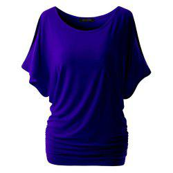 Women Short Sleeve   Color Round Collar T-Shirt -