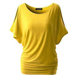Women Short Sleeve  Pure Color Round Collar T-Shirt -