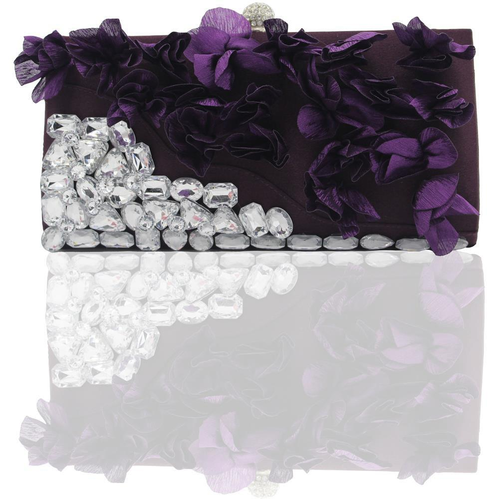 New 2018 Direct Selling Top Women Floral Hasp Diamond Satin Flower Evening Clutch Bag