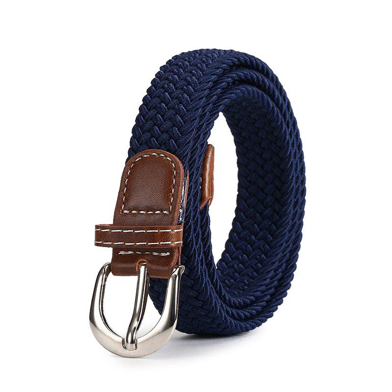 Unique Fashion Korean Style Breathable Durable Weaving Elastic Waist Belt Alloy Buckle