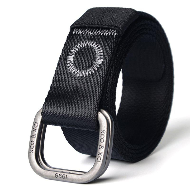Best Quick Dry Double Ring Metal Buckle Wide Nylon Weaving Waist Belt for Male