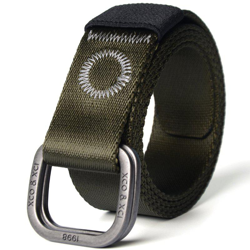Outfit Quick Dry Double Ring Metal Buckle Wide Nylon Weaving Waist Belt for Male