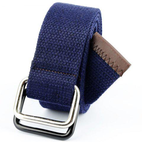 Shops Fashion Design Double Ring Metal Buckle Weaving Breathable Waist Belt for Students