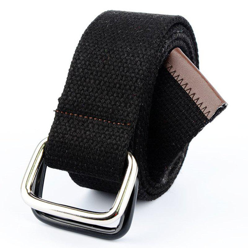 Outfit Fashion Design Double Ring Metal Buckle Weaving Breathable Waist Belt for Students