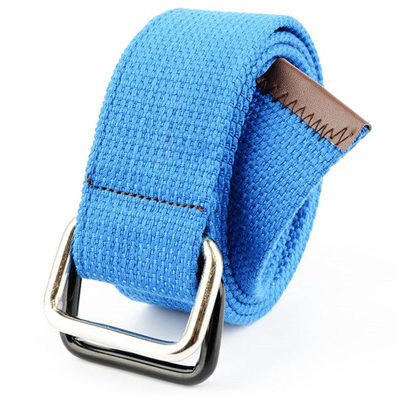 Sale Fashion Design Double Ring Metal Buckle Weaving Breathable Waist Belt for Students