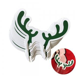 10PCS PAPER Christmas Elk Antlers Wineglasses Card Plugs Chocolate Cartoon Cake Fawn Christmas Antlers -