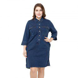 Large Size Medium  Long Denim Dress -
