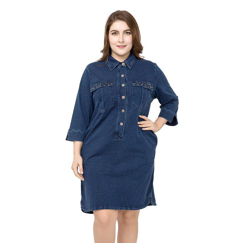 Fancy Large Size Medium  Long Denim Dress