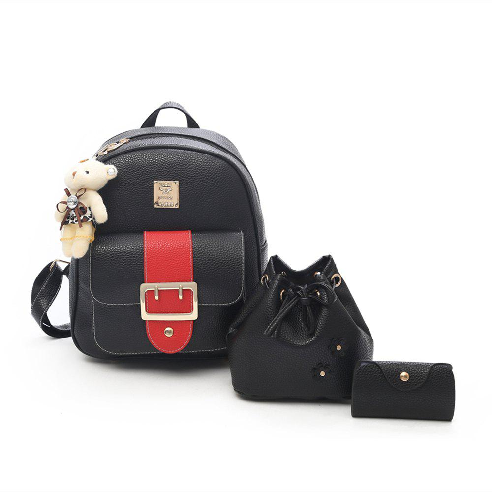 Trendy Hit Color PU Soft Leather Casual Wild Travel Backpack Women