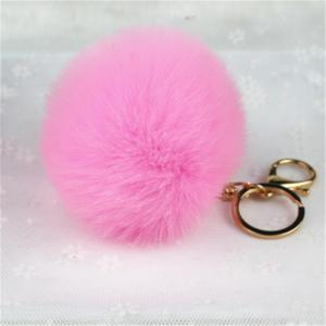 Lovely Fluffy Rabbit Ear Fur Anime Key Chain Rings Pendant Cute Pompom Artificial Rabbit Fur Keychain -