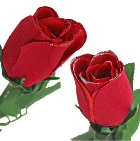 red valentine day single wrapped artificial red rose with glitter, Ideas