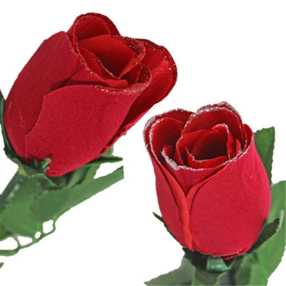 2018 Valentine Day Single Wrapped Artificial Red Rose With Glitter