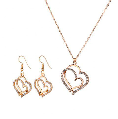 Shops Popular Diamond Rhinestone Double Peach Necklace Earrings Set