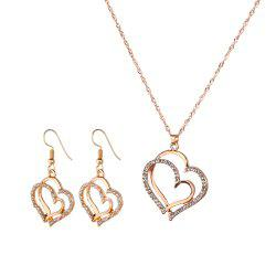 Popular Diamond Rhinestone Double Peach Necklace Earrings Set -