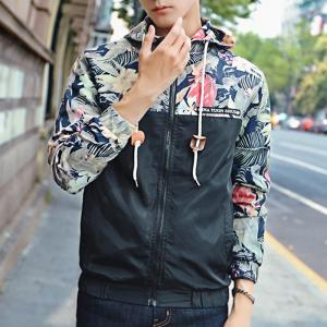 Floral Bomber Jacket Men Hip Hop Slim Fit Flowers Pilot Bomber Jacket -