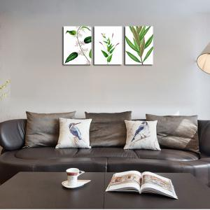 QiaoJiaHuaYuan No Frame Canvas Living Room Sofa Background Decoration Hangs a Small Fresh Plant Leaf -