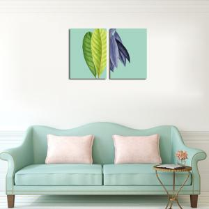 QiaoJiaHuaYuan No Frame Canvas Living Room Sanlian Painting Simple Natural Leaf Decoration Hanging Painting -