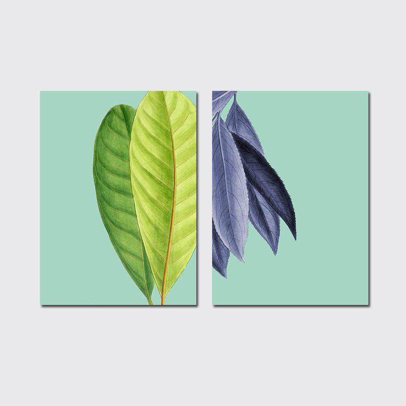 Unique QiaoJiaHuaYuan No Frame Canvas Living Room Sanlian Painting Simple Natural Leaf Decoration Hanging Painting