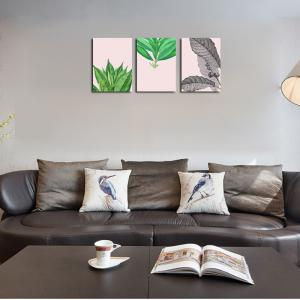 QiaoJiaHuaYuan No Frame Canvas of the Nordic Living Room Sofa Background Small and Fresh Leaves Decorated Hanging Painti -