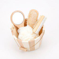 Wooden Bucket Bathing Set Foot Massage Mirror Comb Pumice Stone -
