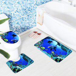 3PCS/SET Bathroom Toilet Non-Slip Blue Ocean Style Pedestal Rug Lid Toilet Cover Bath Mat -