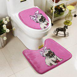 Cute Dog Pattern 2 Pcs Bath Mat Set Toilet Carpet Suit WC Mat U Shape Non-Slip Bathroom Carpet Rugs -