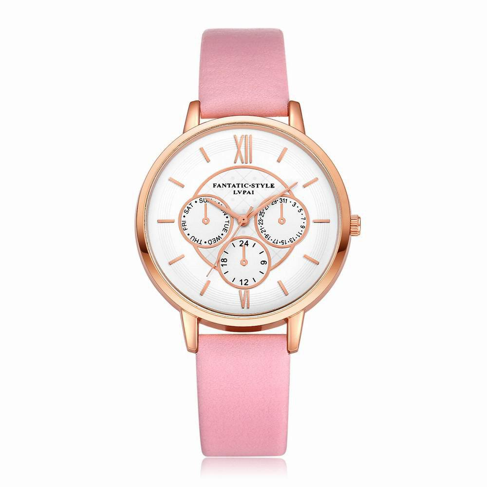 Discount Lvpai P090-R Women Fashion Leather Band Quartz Watches