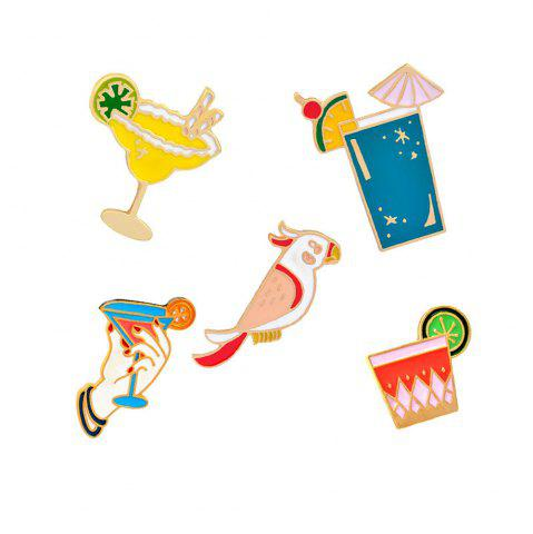 Chic Summer Cartoon Brooch Parrot Animals Birds Drink Clothing Pin Badge Button  Metal Fashion Bag Backpack for Girls