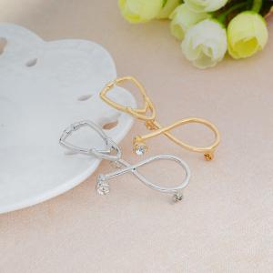 Stethoscope Medical Gold Silver Crystal Brooch Nurse Corsage Nurse Medical Doctors Student Graduation Gift -