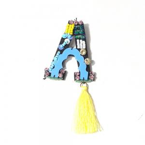 Handmade  A Letter with Tassel Brooch Clothes Party Jewelry Gift Women -