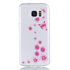 for Samsung S7 Edge Flower and Butterfly Painted Soft Clear TPU Mobile Smartphone Cover Shell Case -