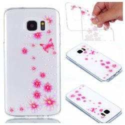 для Samsung S7 Edge Flower and Butterfly Painted Soft Clear TPU Mobile Smartphone Cover Shell Case -