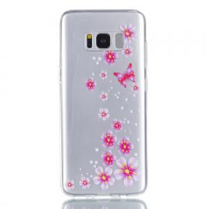 for Samsung S8 Flower and Butterfly Painted Soft Clear TPU Mobile Smartphone Cover Shell Case -