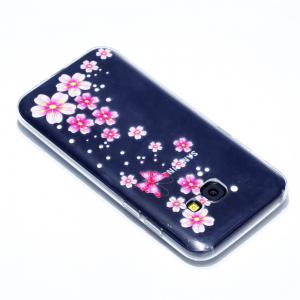 for Samsung A3 2017 Flower and Butterfly Painted Soft Clear TPU Mobile Smartphone Cover Shell Case -