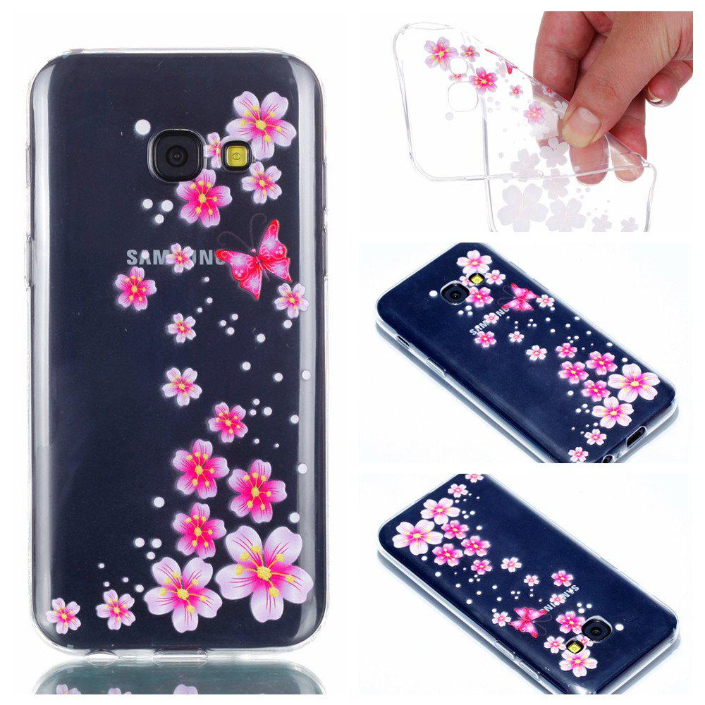 Fancy for Samsung A3 2017 Flower and Butterfly Painted Soft Clear TPU Mobile Smartphone Cover Shell Case