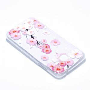 for Samsung J310 Peach Flower Painted Soft Clear TPU Mobile Smartphone Cover Shell Case -