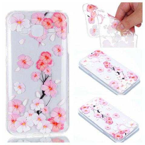 Outfits for Samsung J310 Peach Flower Painted Soft Clear TPU Mobile Smartphone Cover Shell Case
