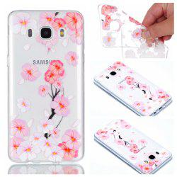 for Samsung J510 Peach Flower Painted Soft Clear TPU Mobile Smartphone Cover Shell Case -