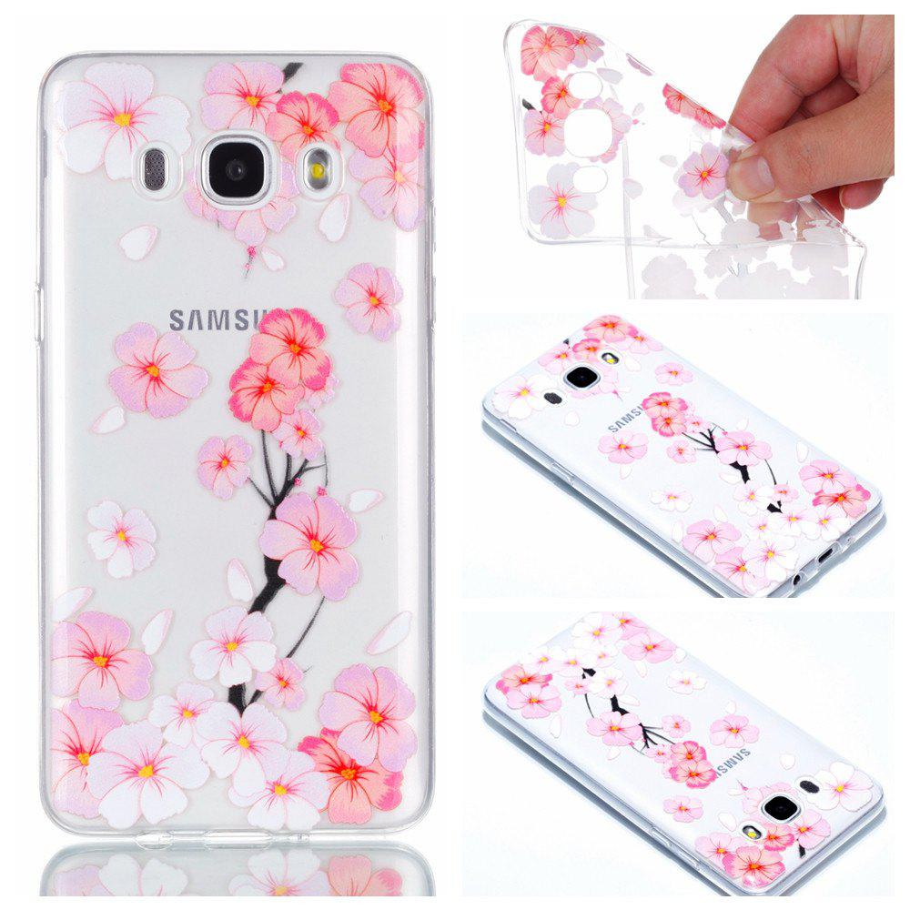 Buy for Samsung J510 Peach Flower Painted Soft Clear TPU Mobile Smartphone Cover Shell Case