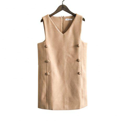 Best V-Neck Sleeveless Double-Dreasted Cloth Vest Dress