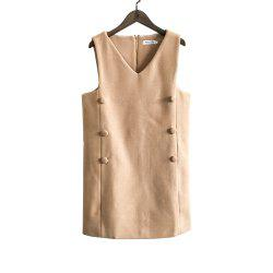 V-Neck Sleeveless Double-Dreasted Cloth Vest Dress -