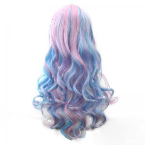 Blue Powder Gradient Section Long Curly Hair Anime Wig -