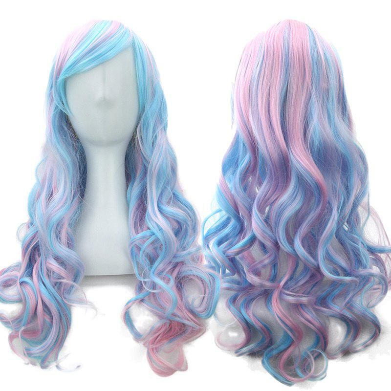 Store Blue Powder Gradient Section Long Curly Hair Anime Wig