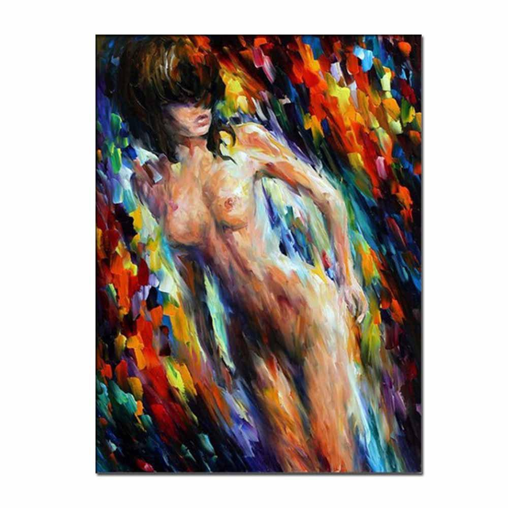 Latest Hand Painted Abstract Nude Girl Figure Oil Painting on Canvas Wall Picture Room Decoration No Framed