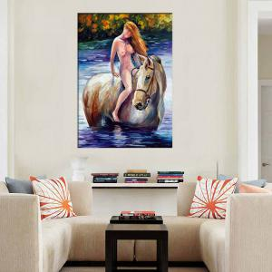 Handmade Abstract Nude Girl Riding Horse Oil Pianting Palette Knife Painting Living Room Home Wall Decor -