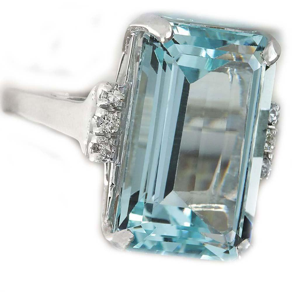 Chic European and American Fashion Sky Blue Gem Engagement Ring