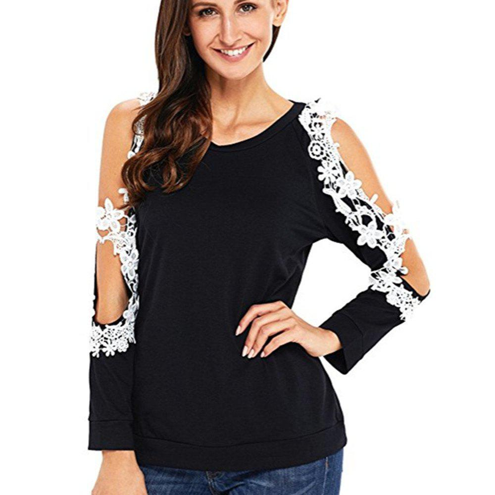 Cheap Round Neck Lace Long Sleeve T-Shirt